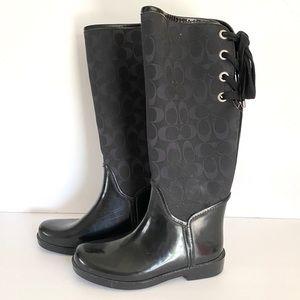 COACH Tristee signature fabric & rubber boots BoxA